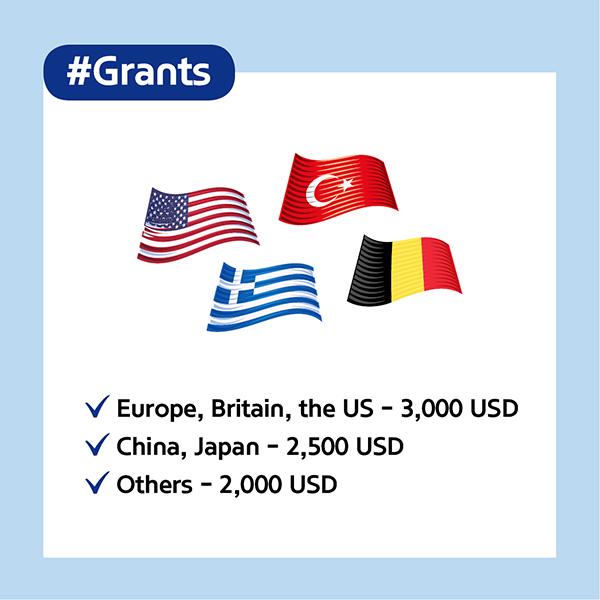 #GrantsEurope, Britain, the US - 3,000 USDChina, Japan - 2,500 USDOthers - 2,000 USD
