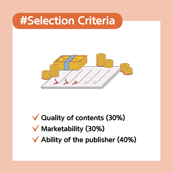 #Selection CriteriaQuality of contents (30%)Marketability (30%)Ability of the publisher (40%)