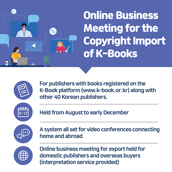 #Online Business Meeting for the Copyright Import of K-Books- For publishers with books registered on the K-Book platform (www.k-book.or.kr) along with other 40 Korean publishers.- Held from August to early December- A system all set for video conferences connecting home and abroad- Online business meeting for export held for domestic publishers and overseas buyers (interpretation service provided)